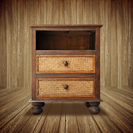 Retro wooden nightstand photo