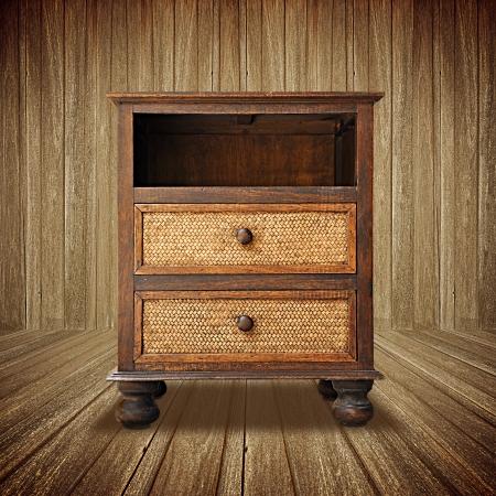 nightstand: Retro wooden nightstand Stock Photo