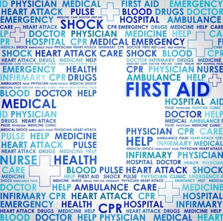 primeros auxilios: Signo de primeros auxilios - resumen Foto de archivo