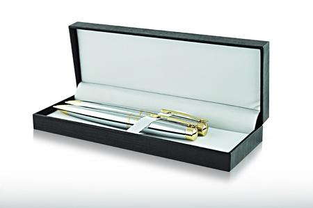 Two ballpoint pens in black rectangular case Stock Photo - 16589129