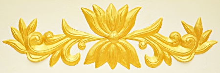bas: Asian style golden bas-relief on white background