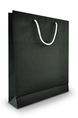 carry bags: Black paper bag on white background