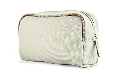 productos de aseo: Marrón claro aseo tela o bolsa de cosméticos Foto de archivo