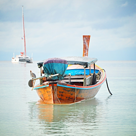 fishery: Asian style long tail boat