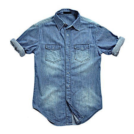 denim background: Blue jean shirt with rolled up sleeves