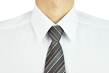 Man wearing white shirt with necktie photo