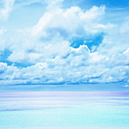 Blue sea and sky background photo