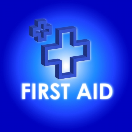 First aid sign on blue and white background