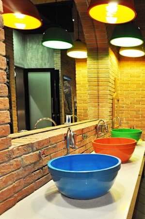 Colorful toilet basins photo