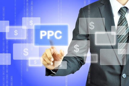 ppc: Businessman touching PPC or Pay Per Click sign Stock Photo