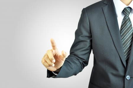 touch screen hand: Businessman pointing Stock Photo