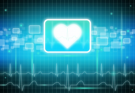 Heart, pulse and cardiogram sign photo