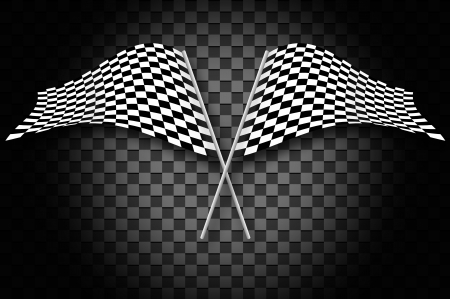 winning the race: Racing flags on gray checkered blackground