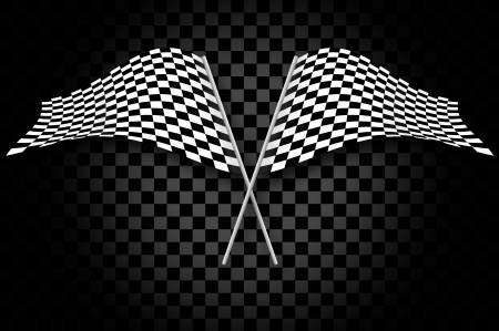 Racing flags on gray checkered blackground Stock Photo - 17511268