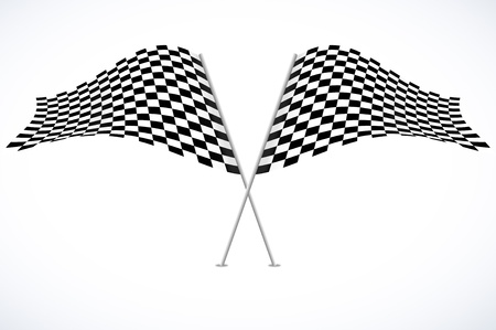 Two racing flags on white background photo