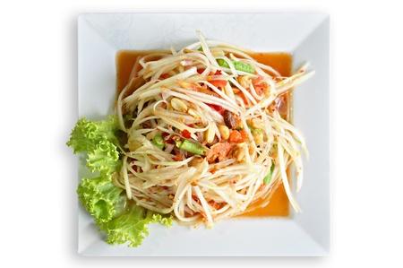 Insalata di papaya piccante tailandese - Somtam Archivio Fotografico