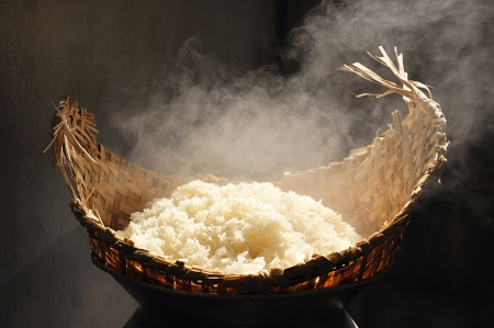 smoky: Cooked sticky rice  in wooden steamer