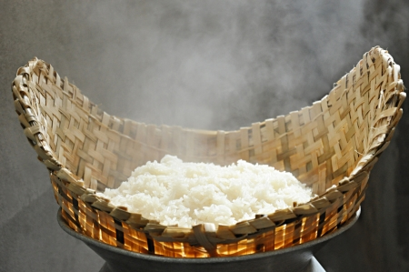 Sticky rice in wooden steamer photo