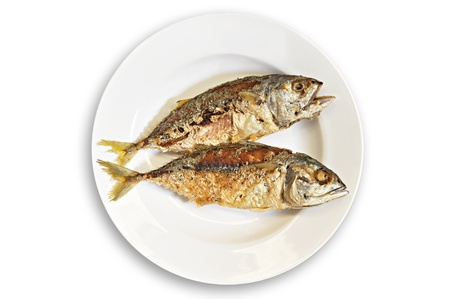 Thai style fried mackerel fish in white dish Stock Photo - 17628198