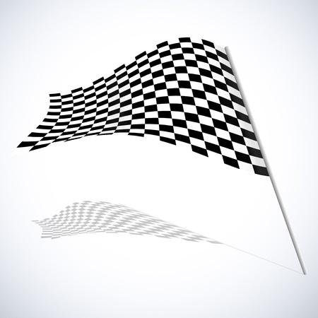 bandera carrera: Bandera a cuadros de carreras aisladas en blanco baackground