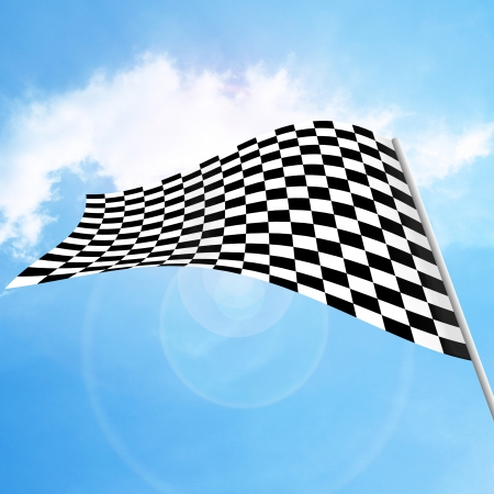 Racing flags on blue sky blackground photo