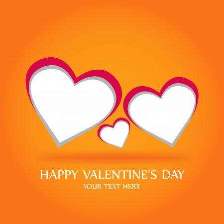 Valentines day hearts on orange background photo