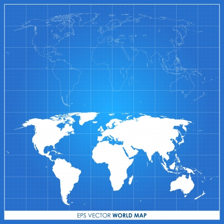 Precise world map on blueprint - vector Vector