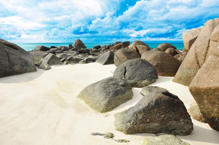 Rocks and sand on the seashore - Lipe island Thailand photo