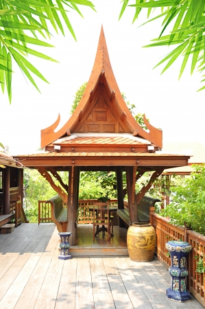 Traditional Thai style wooden gazebo photo