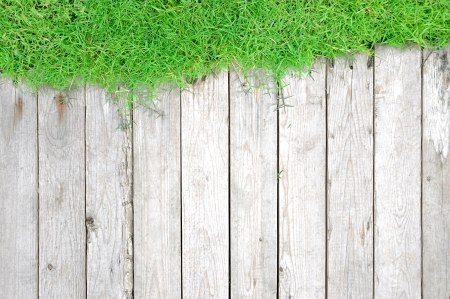 Green lawn and wood background Stock Photo - 18820117