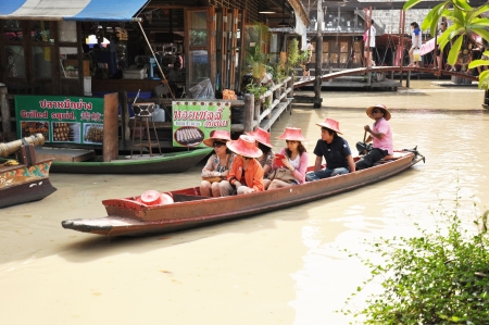 ferrying: Pattaya Thailand - Mar2 : Tourists sailing on the boat in Pattaya floating market Thailand, Mar 2, 2013