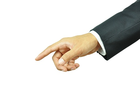 Businessman hand pointing photo
