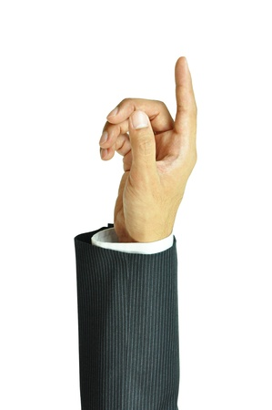 Businessman hand pointing up photo
