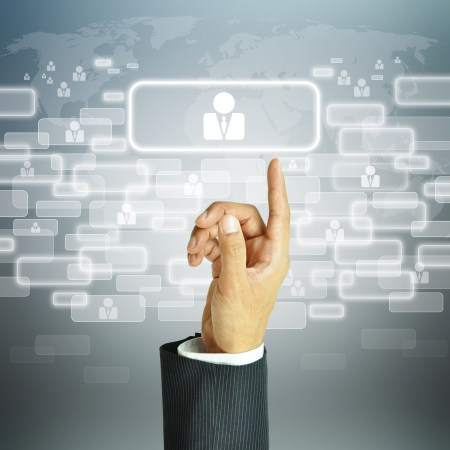 hr: Businessman pointing human resources sign - HR, HRM, HRD concept Stock Photo