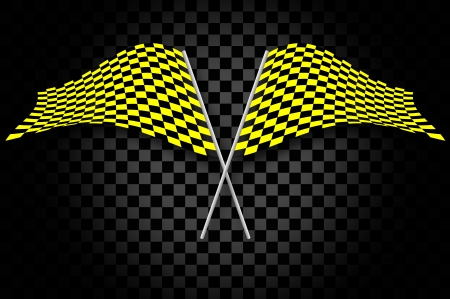 checker flag: Yellow checkered flags on black checkered background Stock Photo