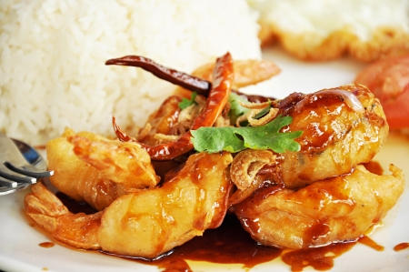 Thai food - deep fried prawns in Tamarind source photo