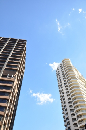 Buildings in blue sky background - looking up angle Stock Photo - 20029137