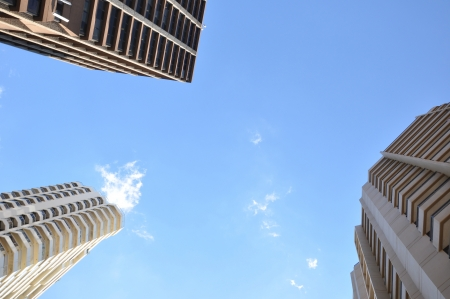 Buildings in blue sky background - looking up angle Stock Photo - 20028002