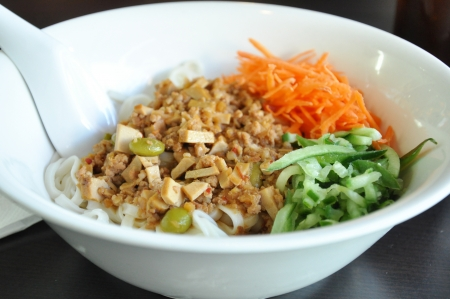 chicken noodle: Spicy pork and tofu with noodle - Taiwanese food