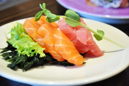 Sashimi  raw fish  with vegetables - Japanese food Stock Photo - 20028083