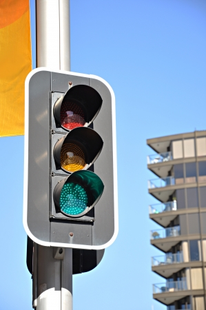 Traffic light in the city photo
