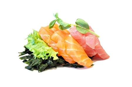 Raw fish with some vegetables (sashimi) - Japanese food photo
