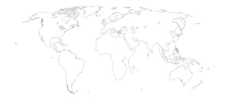 World map outline on white background photo
