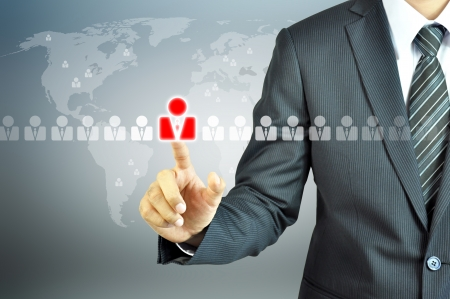 resources management: Businessman pointing human sign - HR,HRM,HRD ,CRM concept Stock Photo