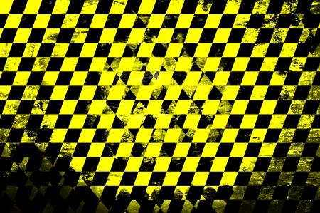 checkerboard backdrop: Grunge abstract black & yellow checkered background