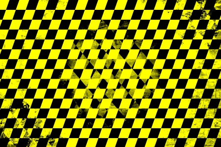 Grunge abstract black & yellow checkered background photo