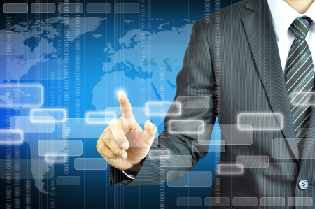 virtual world: Businessman touching virtual screen Stock Photo