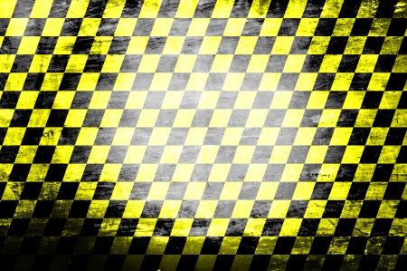 lomo: Grunge abstract black   yellow checkered background Stock Photo