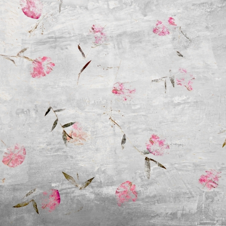 Pink flowers on retro concrete wall - background photo