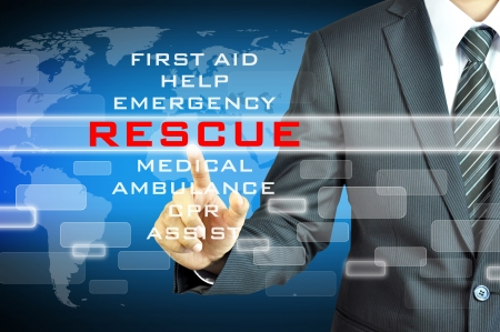 cpr: Businessman touching RESCUE sign on virtual screen